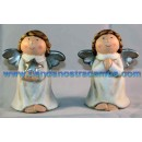 Angelitos ceramica de pie blancos